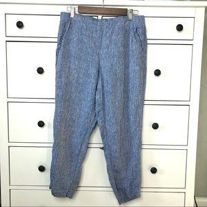 J.Jill Love Linen 100% Linen Blue Elastic Pants MP